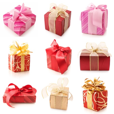 Set of various gifts isolated on white background. photo