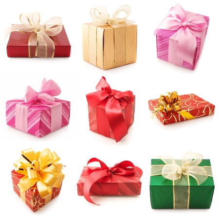Set of various gifts isolated on white background. Stock Photo - 11306475