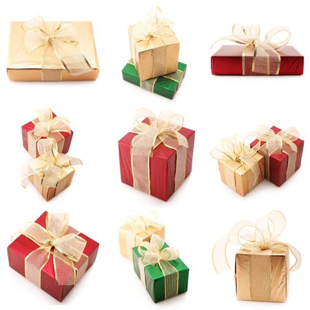 organza: Set of various gifts isolated on white background.