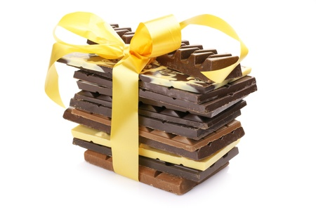 Stack of assorted chocolate bars isolated on white background. Stock Photo - 12373673