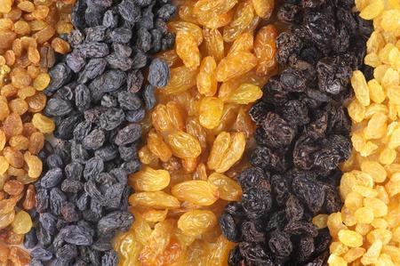 Heap of assorted raisins close-up. photo