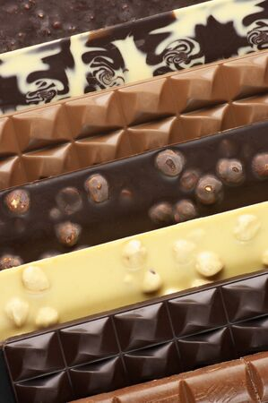 Pile of assorted chocolate bars close-up. Stock Photo - 12982796
