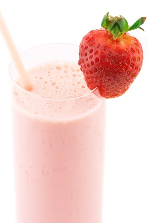 Close-up of strawberry protein cocktail on white background. photo