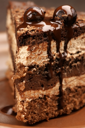 Close-up of homemade chocolate cake in brown ceramic plate. Stock Photo - 13916605
