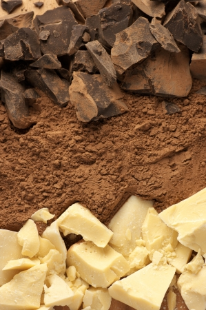 Chocolate ingredients: cocoa solids, cocoa oil and cocoa powder close-up.