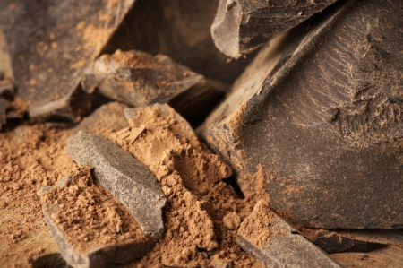 Chocolate ingredients: cocoa solids and cocoa powder close-up.