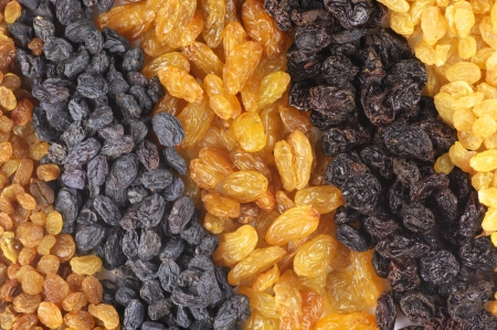 Heap of assorted raisins close-up. photo