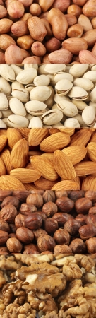 Set of assorted nuts as backgrounds. photo