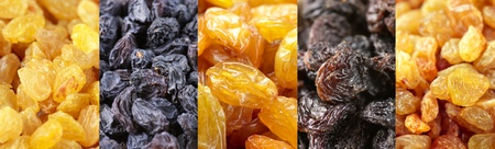 Set of assorted raisins as backgrounds. photo