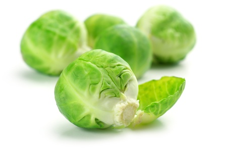 brussel: Fresh brussel sprouts isolated on white background. Stock Photo