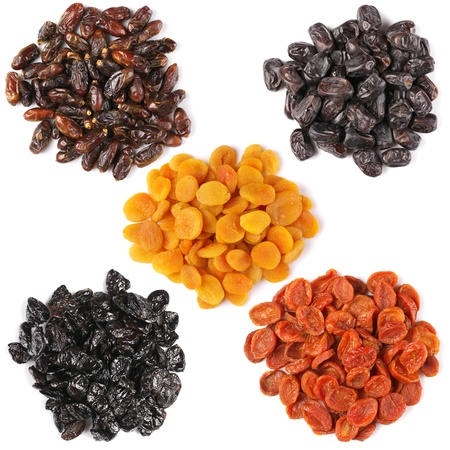 dried fruit: Set of assorted dried fruits isolated on white background.
