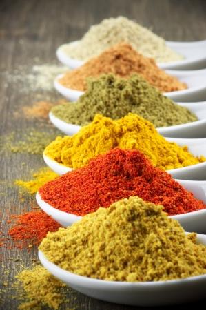 Assorted powder spices close-up. Shallow DOF.