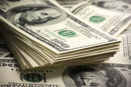 stack of dollar bill: Stack of one hundred dollar bills close-up.