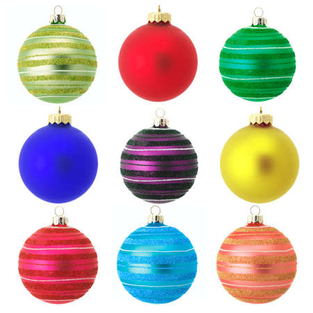 Set of colorful Christmas balls isolated on white background. photo