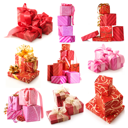 Set of assorted gifts isolated on white background. photo