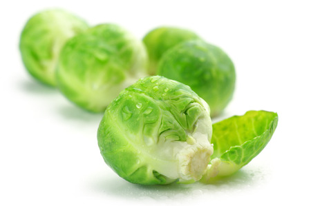 brussel: Fresh wet brussel sprouts isolated on white background.