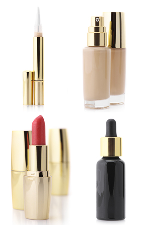 Set of assorted cosmetic products isolated on white background: serum, foundation, concealer and lipsticks. photo