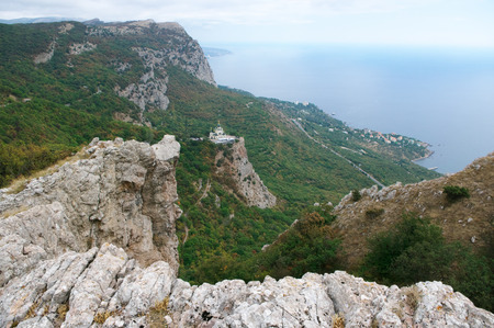 Mountain landscape with Church on rock. Crimea.