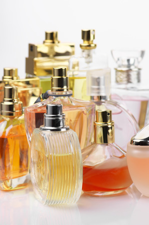luxe: Set of various woman perfumes.