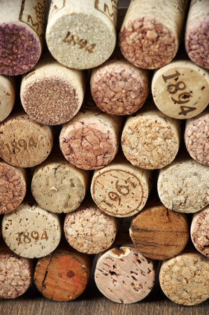 cork: Stack of assorted wine corks close-up. Stock Photo
