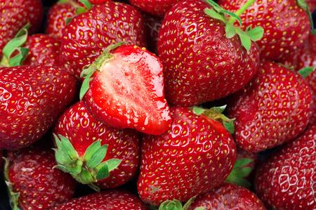 heap: Heap of strawberries close-up.