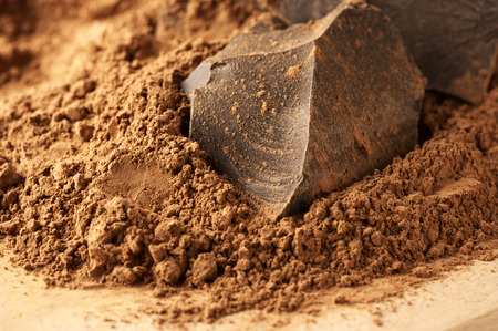 solids: Chocolate ingredients: cocoa solids and cocoa powder close-up.