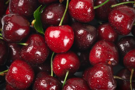 cherry: Close-up of wet cherries with water drops. Stock Photo
