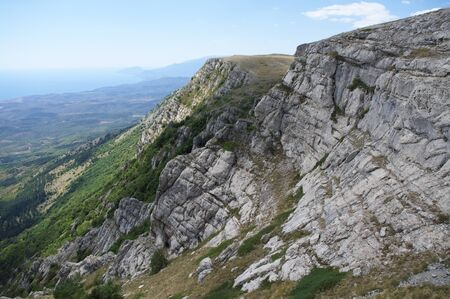 scarp: Mountain landscape with steep rocks. Crimea. Stock Photo