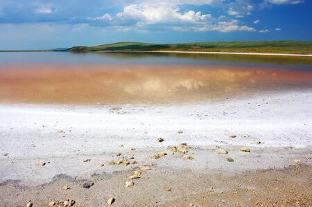 crystallized: Unusual pink coastal salty lake Koyashskoye with reflection of clouds and crystallized salt. Crimea.