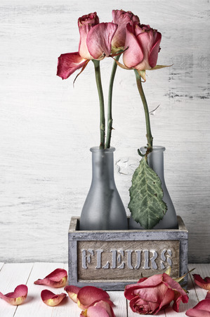 Wilted roses in rustic vase and fallen petals on wooden background. Vintage stylized, filtered image.