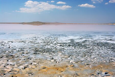crystallized: Unusual pink Koyashskoye salt lake with crystallized salt and footprints on healing mud. Crimea. Stock Photo