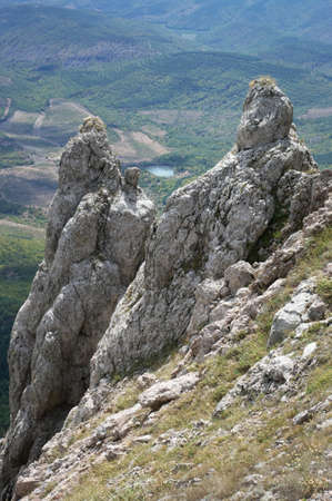 peaked: Peaked rocks over valley. Crimea.