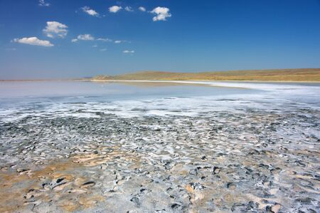 crystallized: Unusual Koyashskoye salt lake with crystallized salt and footprints on healing mud. Crimea. Stock Photo