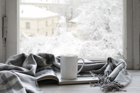 Cozy winter still life: mug of hot tea and opened book with warm plaid on vintage windowsill against snow landscape from outside.