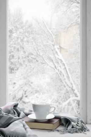 resfriado: de invierno acogedor todav�a la vida: taza de caf� caliente y libro con tela escocesa caliente sobre alf�izar de la ventana contra el paisaje de la nieve desde fuera. Foto de archivo