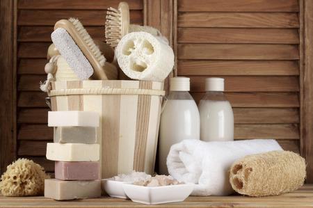 towel  spa  bathroom: Set of bath accessory in wooden bathroom. Stock Photo