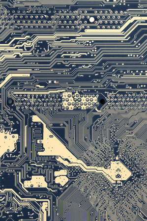 Close-up of back side circuit board pattern. Top view point. Filtered split toned image.