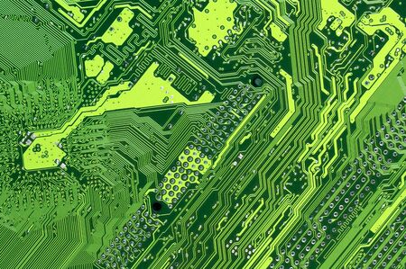 circuitry: Close-up of back side circuit board green pattern. Top view point. Stock Photo