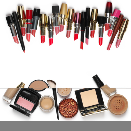 loose skin: Make-up cosmetics set of liquid and cream foundations, compact and loose powder in various tones, bronzing pearls, blush, brush and lipsticks isolated on white background. Top view point.