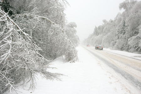 ice storm: Snowy winter road among frozen forest after ice storm. Cold weather, snowstorm, bad visibility, slippery road. Moscow region.