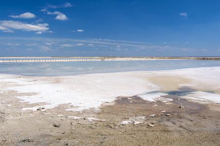 Salt production on salt lake Sasyk-Sivash, Crimea. Stock Photo