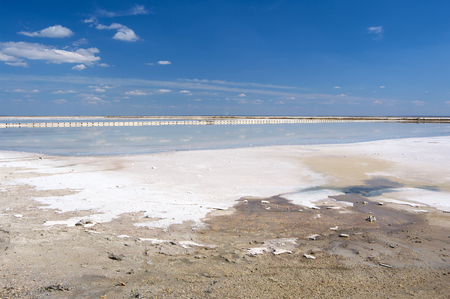 baffle: Salt production on salt lake Sasyk-Sivash, Crimea. Stock Photo
