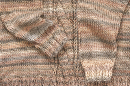 Knitted Sweater Of Plain Stitch With Plait And Rib Close Up Stock
