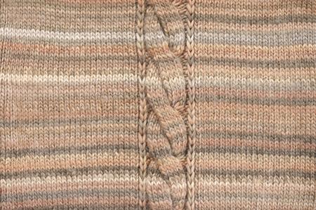 Knitted Cloth Plain Stitch With Plait Texture Of Melange Beige