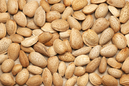 Unpeeled almonds heap as background.