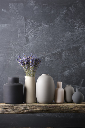 Home Decor Various Neutral Colored Vases With Lavender Bouquet