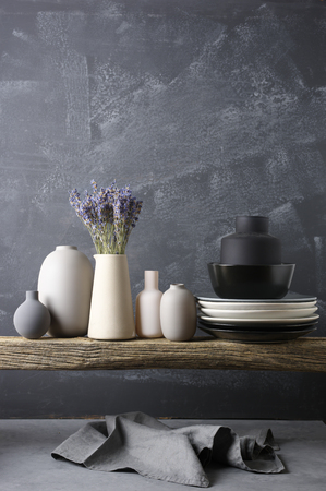 Home Decor Neutral Colored Vases With Lavender Bouquet Dishware