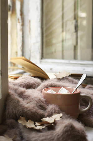 Cup of hot chocolate with marhmallow, warm soft sweater and open book on vintage wooden windowsill. Cozy autumn still life.