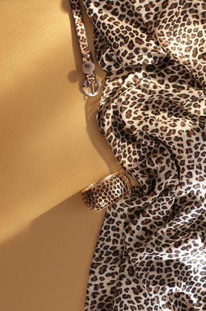 Animal print fashion accessories on matt gold background in sunlight. Top view point. 스톡 콘텐츠