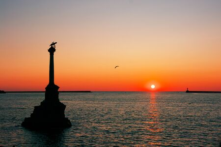 Sevastopol, Crimea, Russia - August 06, 2019: Monument to sunken ships at sunset. Monument was created in 1905 in honor of 50th Anniversary of First Siege of Sevastopol in Crimean war.